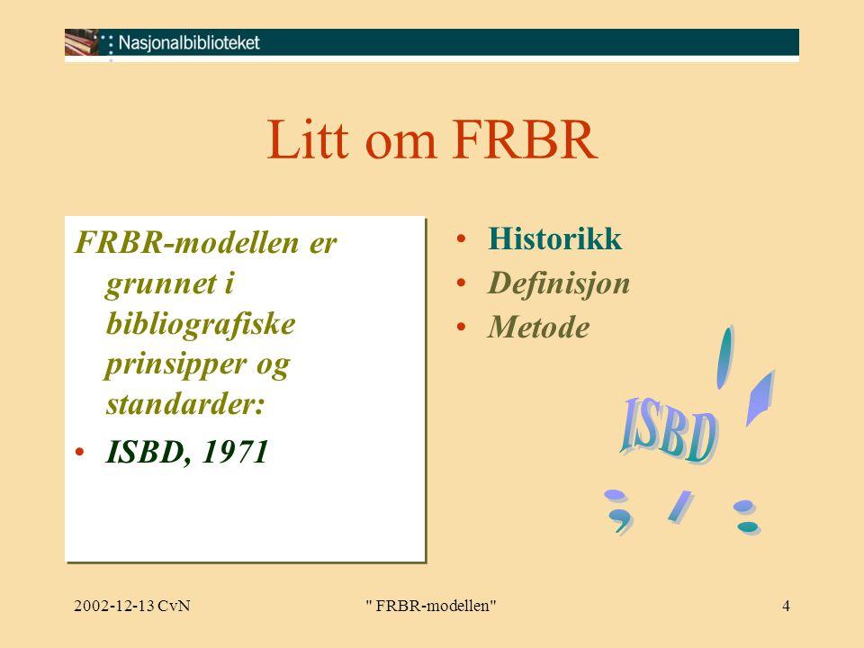 2002-12-13 CvN FRBR-modellen 4 Litt om FRBR FRBR-modellen er grunnet i bibliografiske prinsipper og standarder: ISBD, 1971 FRBR-modellen er grunnet i bibliografiske prinsipper og standarder: ISBD, 1971 Historikk Definisjon Metode
