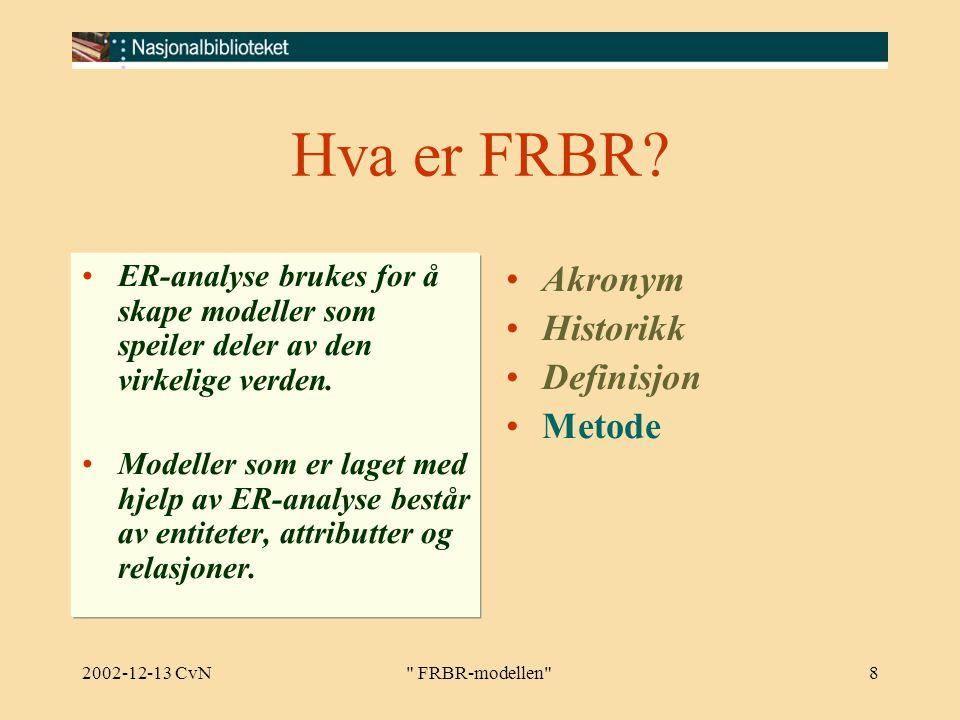 2002-12-13 CvN FRBR-modellen 8 Hva er FRBR.