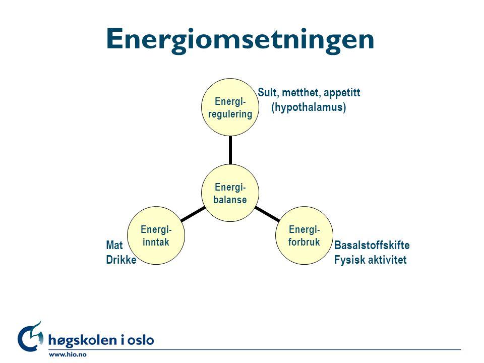 Energiomsetningen Energi- balanse Energi- regulering Energi- forbruk Energi- inntak Basalstoffskifte Fysisk aktivitet Sult, metthet, appetitt (hypotha