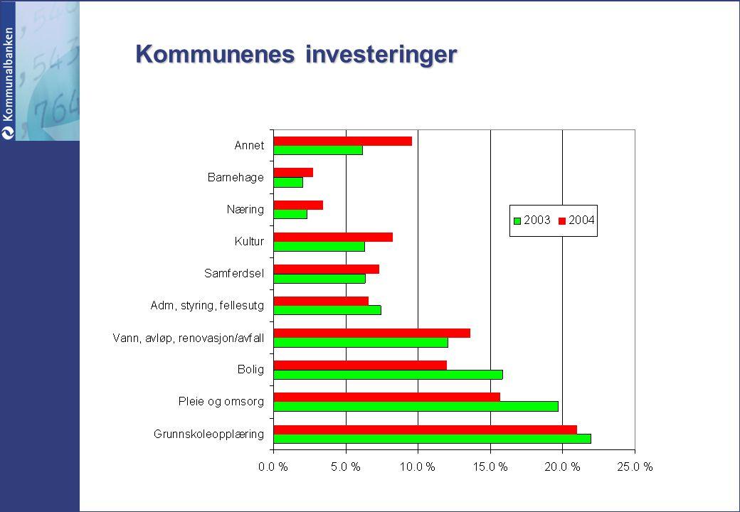 Finansieringskilde for investeringer Kilde: KOSTRA 04