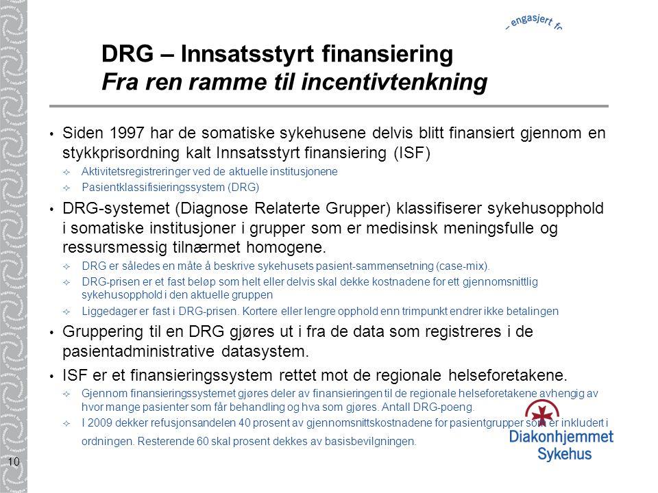 10 DRG – Innsatsstyrt finansiering Fra ren ramme til incentivtenkning Siden 1997 har de somatiske sykehusene delvis blitt finansiert gjennom en stykkp