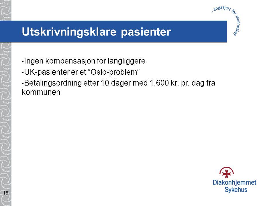 """18 Utskrivningsklare pasienter Ingen kompensasjon for langliggere UK-pasienter er et """"Oslo-problem"""" Betalingsordning etter 10 dager med 1.600 kr. pr."""