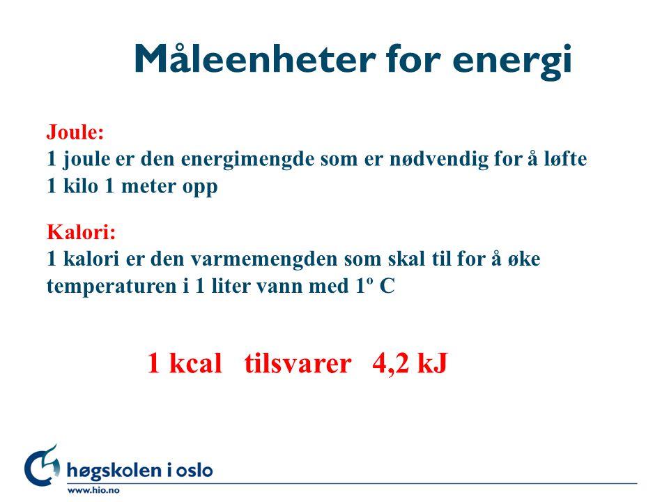 Måleenheter for energi Kalori: 1 kalori er den varmemengden som skal til for å øke temperaturen i 1 liter vann med 1º C Joule: 1 joule er den energime