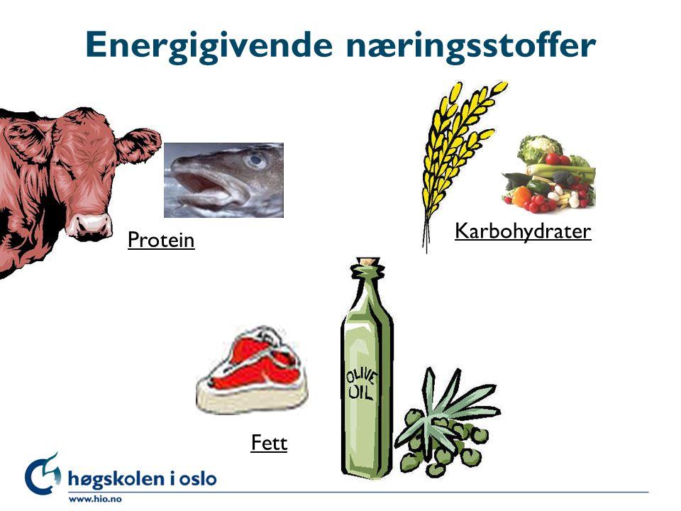 Energigivende næringsstoffer Fett Protein Karbohydrater