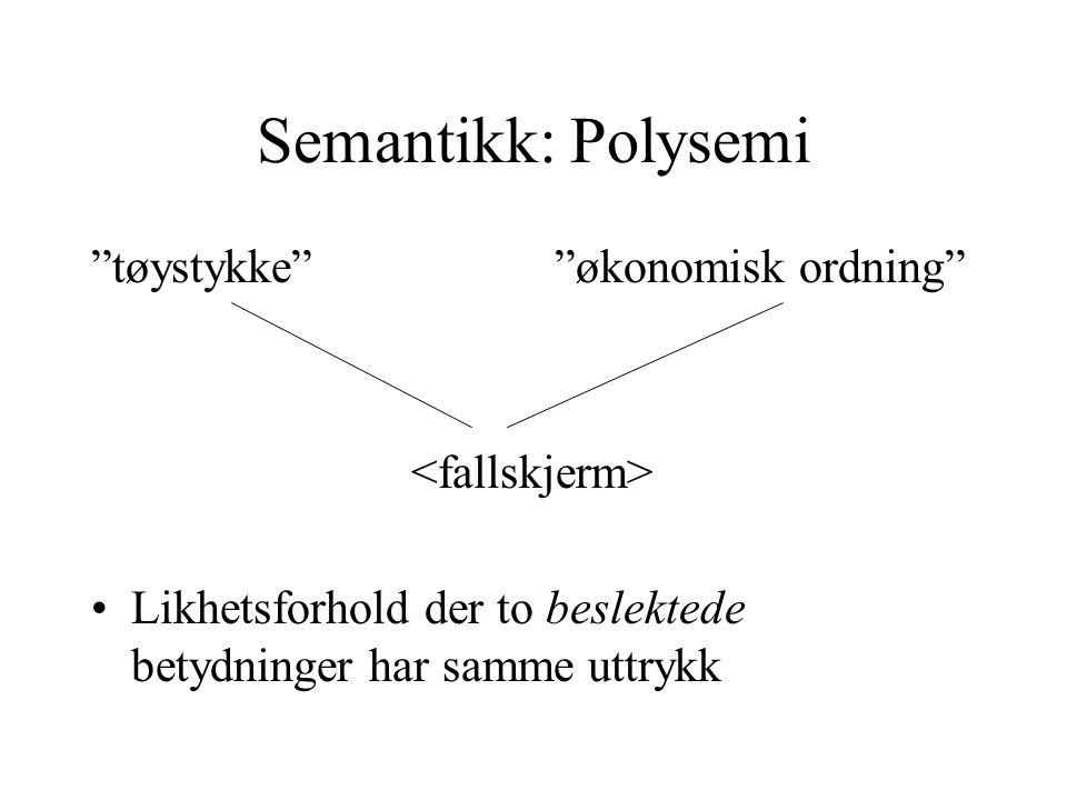 """Semantikk: Polysemi """"tøystykke"""" """"økonomisk ordning"""" Likhetsforhold der to beslektede betydninger har samme uttrykk"""