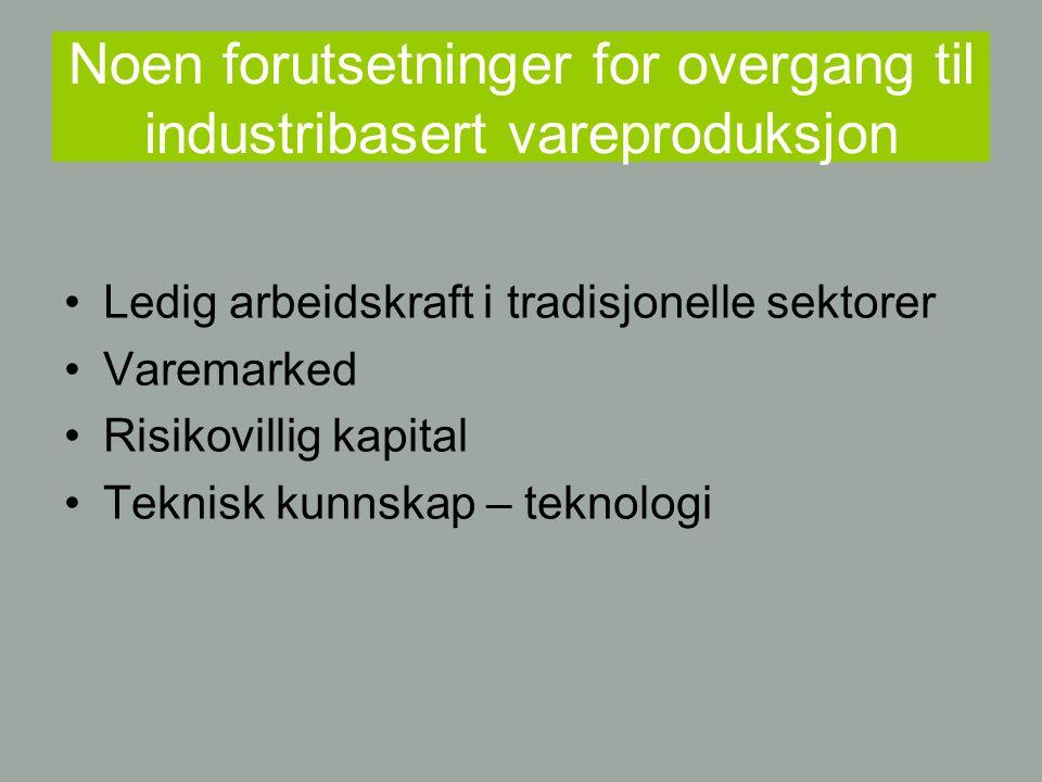 Noen forutsetninger for overgang til industribasert vareproduksjon Ledig arbeidskraft i tradisjonelle sektorer Varemarked Risikovillig kapital Teknisk