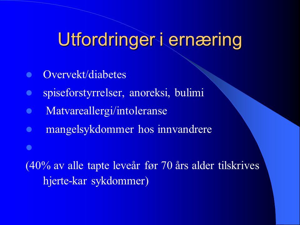 Utfordringer i ernæring Overvekt/diabetes spiseforstyrrelser, anoreksi, bulimi Matvareallergi/intoleranse mangelsykdommer hos innvandrere (40% av alle