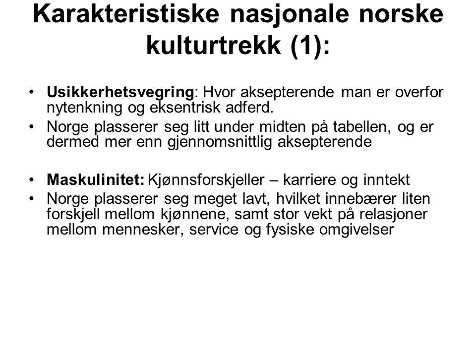 Karakteristiske nasjonale norske kulturtrekk (1): Usikkerhetsvegring: Hvor aksepterende man er overfor nytenkning og eksentrisk adferd. Norge plassere
