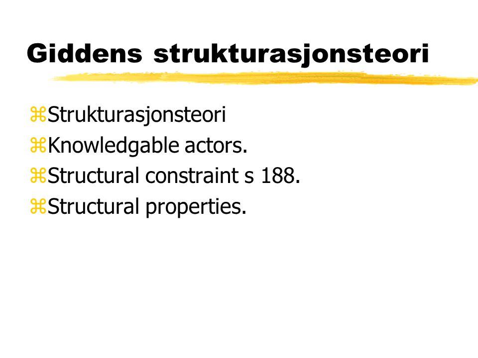 Giddens strukturasjonsteori zStrukturasjonsteori zKnowledgable actors. zStructural constraint s 188. zStructural properties.