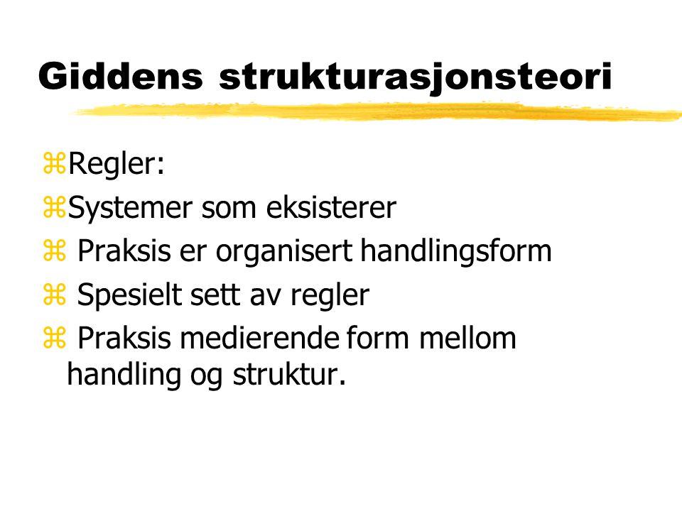 Giddens strukturasjonsteori zRessurser ved et sosiale system: zReprodusert av sosiale aktører zMaterielle, symbolske og kognitive zRegler og ressurser i sosial handling er middel for system reproduksjon