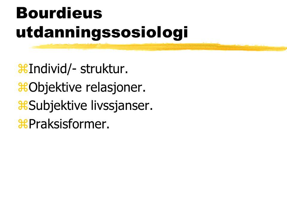 Bourdieus utdanningssosiologi zIndivid/- struktur. zObjektive relasjoner. zSubjektive livssjanser. zPraksisformer.