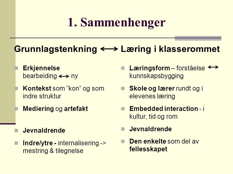 """1. Sammenhenger Grunnlagstenkning Erkjennelse bearbeiding ny Kontekst som """"kon"""" og som indre struktur Mediering og artefakt Jevnaldrende Indre/ytre -"""