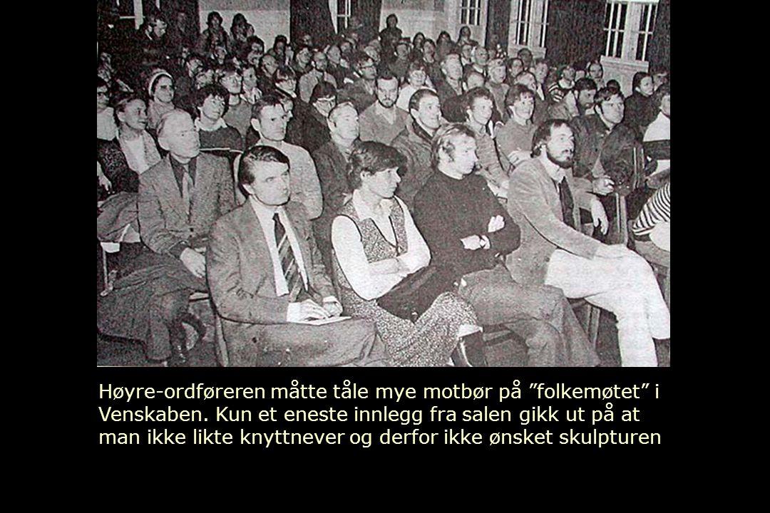"""Høyre-ordføreren måtte tåle mye motbør på """"folkemøtet"""" i Venskaben. Kun et eneste innlegg fra salen gikk ut på at man ikke likte knyttnever og derfor"""