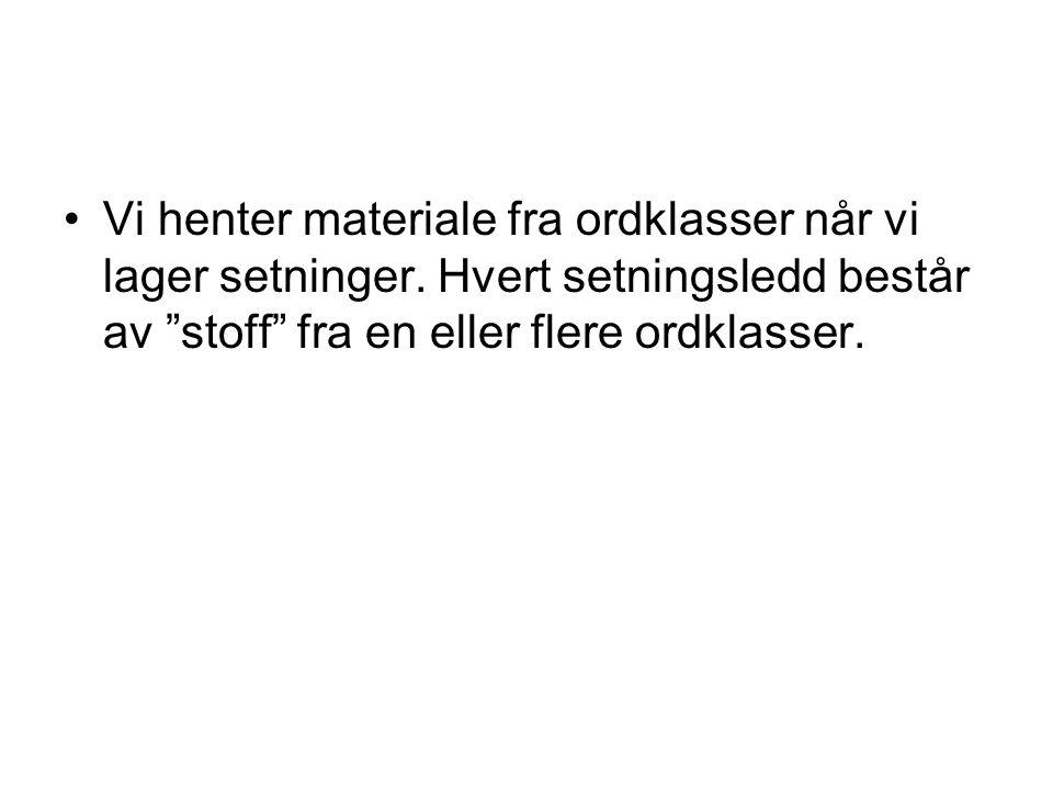 Alle setningsledd kan stå først Alle setningsledd kan stå i forfeltet (først) i norske setninger.