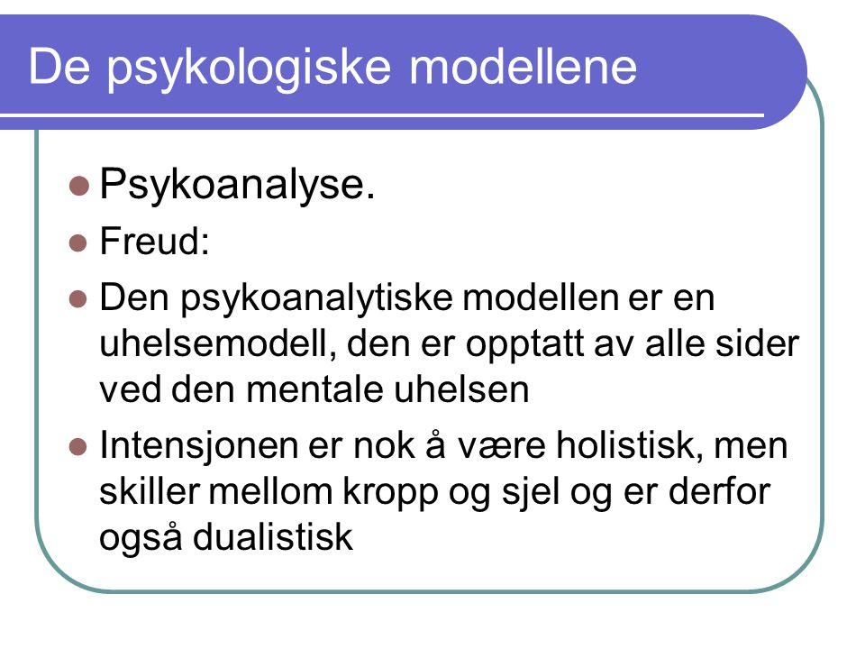 De psykologiske modellene Psykoanalyse.