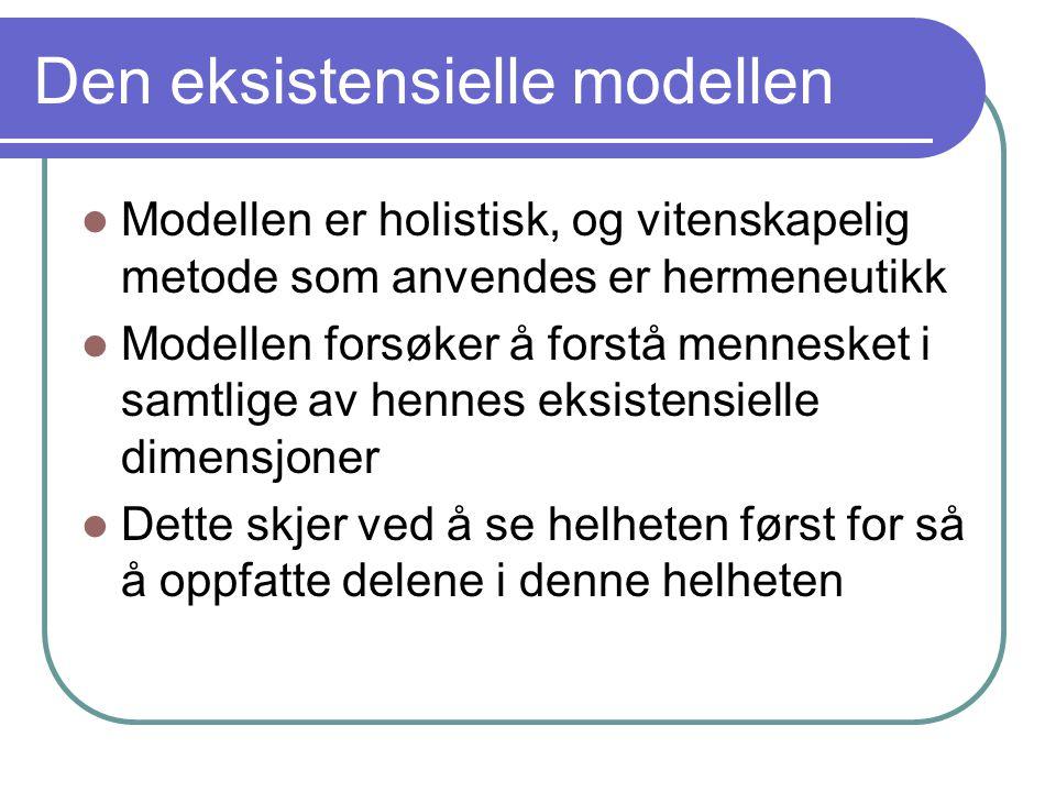 Den eksistensielle modellen Modellen er holistisk, og vitenskapelig metode som anvendes er hermeneutikk Modellen forsøker å forstå mennesket i samtlige av hennes eksistensielle dimensjoner Dette skjer ved å se helheten først for så å oppfatte delene i denne helheten