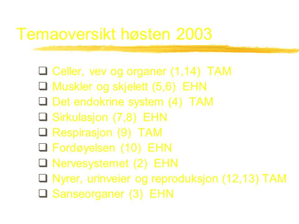 Temaoversikt høsten 2003  Celler, vev og organer (1,14) TAM  Muskler og skjelett (5,6) EHN  Det endokrine system (4) TAM  Sirkulasjon (7,8) EHN 