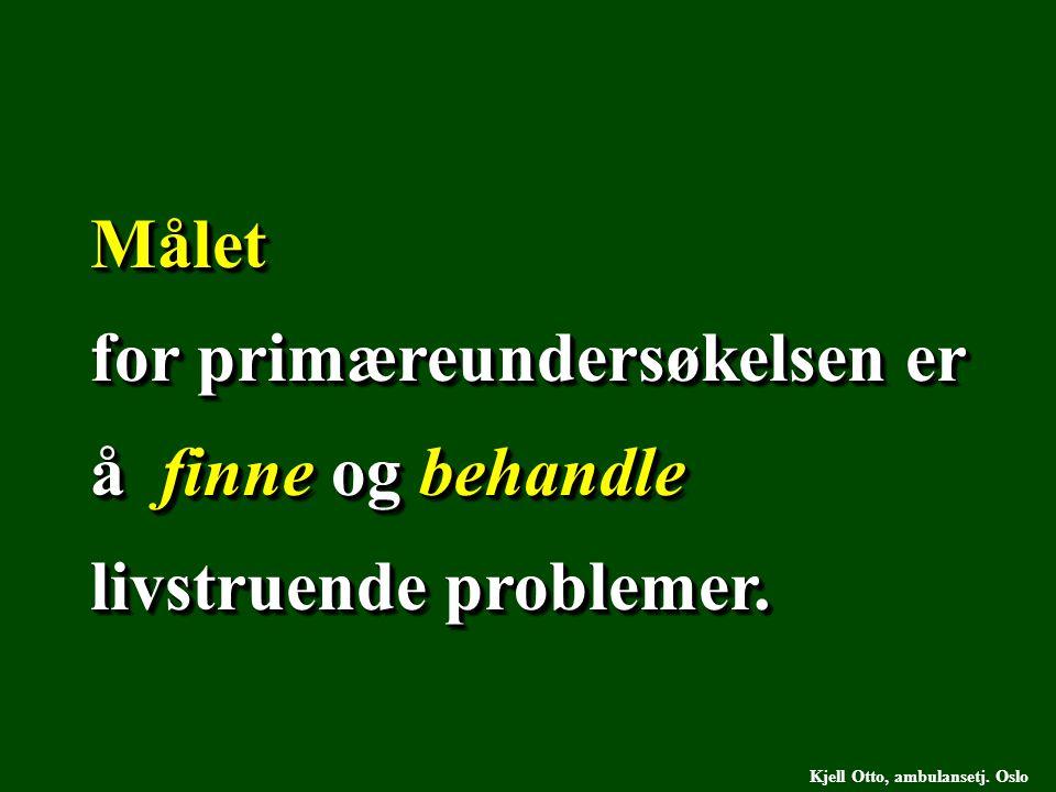 Målet for primæreundersøkelsen er å finne og behandle livstruende problemer. Målet Kjell Otto, ambulansetj. Oslo