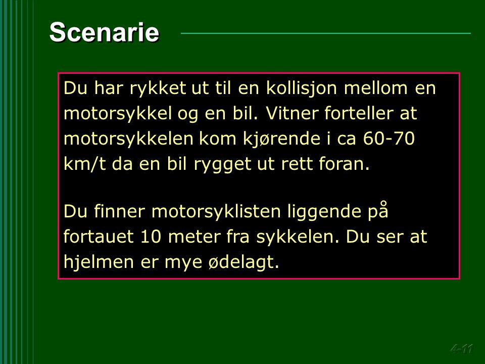 Scenarie Du har rykket ut til en kollisjon mellom en motorsykkel og en bil. Vitner forteller at motorsykkelen kom kjørende i ca 60-70 km/t da en bil r