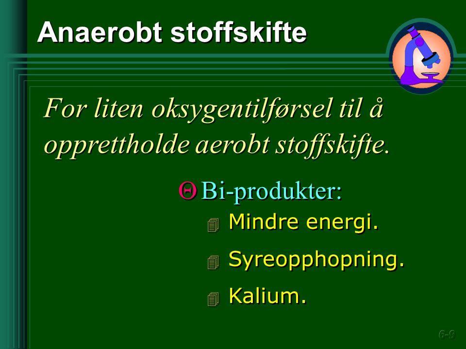 Anaerobt stoffskifte For liten oksygentilførsel til å opprettholde aerobt stoffskifte.  Bi-produkter: 4 Mindre energi. 4 Syreopphopning. 4 Kalium. 