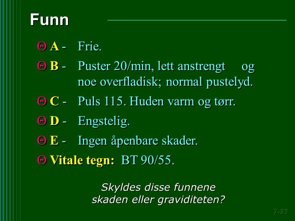  A -Frie.  B -Puster 20/min, lett anstrengt og noe overfladisk; normal pustelyd.  C -Puls 115. Huden varm og tørr.  D -Engstelig.  E -Ingen åpenb