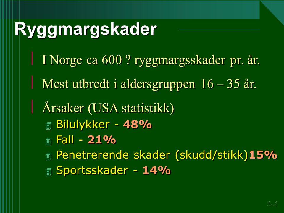  I Norge ca 600 ? ryggmargsskader pr. år.  Mest utbredt i aldersgruppen 16 – 35 år.  Årsaker (USA statistikk) 4 Bilulykker - 48% 4 Fall - 21% 4 Pen