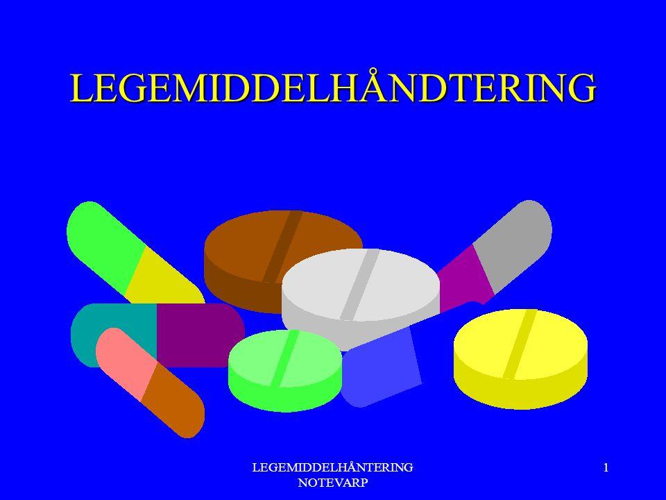 LEGEMIDDELHÅNTERING NOTEVARP 42 Topikal administrering av legemidler Sjampo: Eks: Fungoral (antimyotikum) Håret skylles godt etterpå Nesepreparater: Sjekke pas: respirasjonsmønster, tett nese, rennende nese, sår/rødhet eller skorper i/rund nesen.