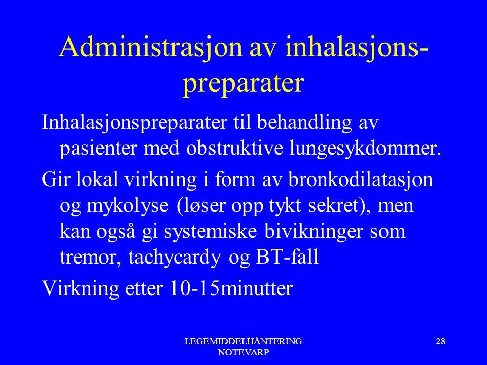 LEGEMIDDELHÅNTERING NOTEVARP 28 Administrasjon av inhalasjons- preparater Inhalasjonspreparater til behandling av pasienter med obstruktive lungesykdo