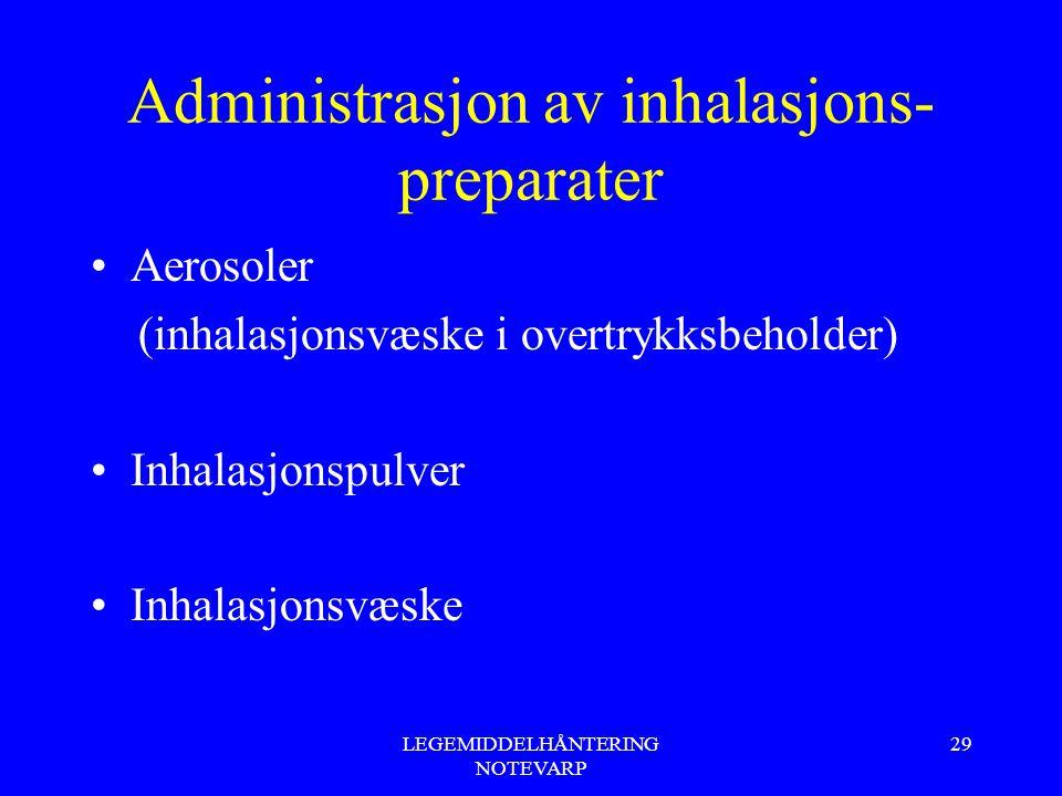 LEGEMIDDELHÅNTERING NOTEVARP 29 Administrasjon av inhalasjons- preparater Aerosoler (inhalasjonsvæske i overtrykksbeholder) Inhalasjonspulver Inhalasj