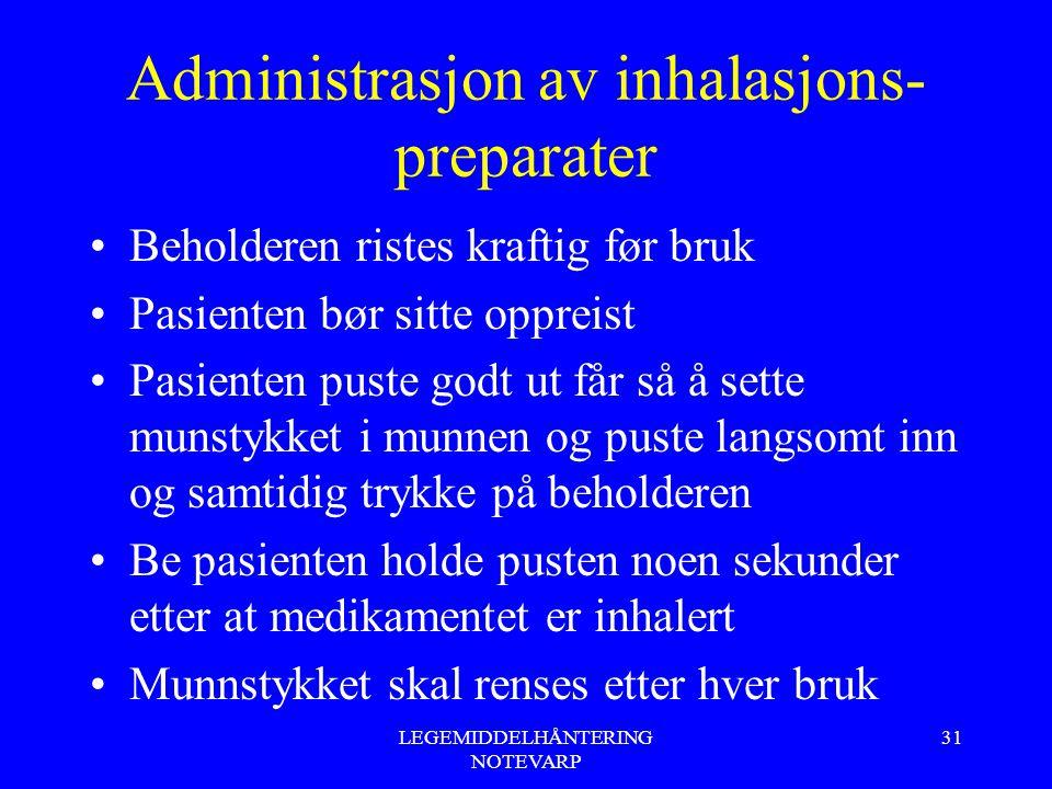 LEGEMIDDELHÅNTERING NOTEVARP 31 Administrasjon av inhalasjons- preparater Beholderen ristes kraftig før bruk Pasienten bør sitte oppreist Pasienten pu