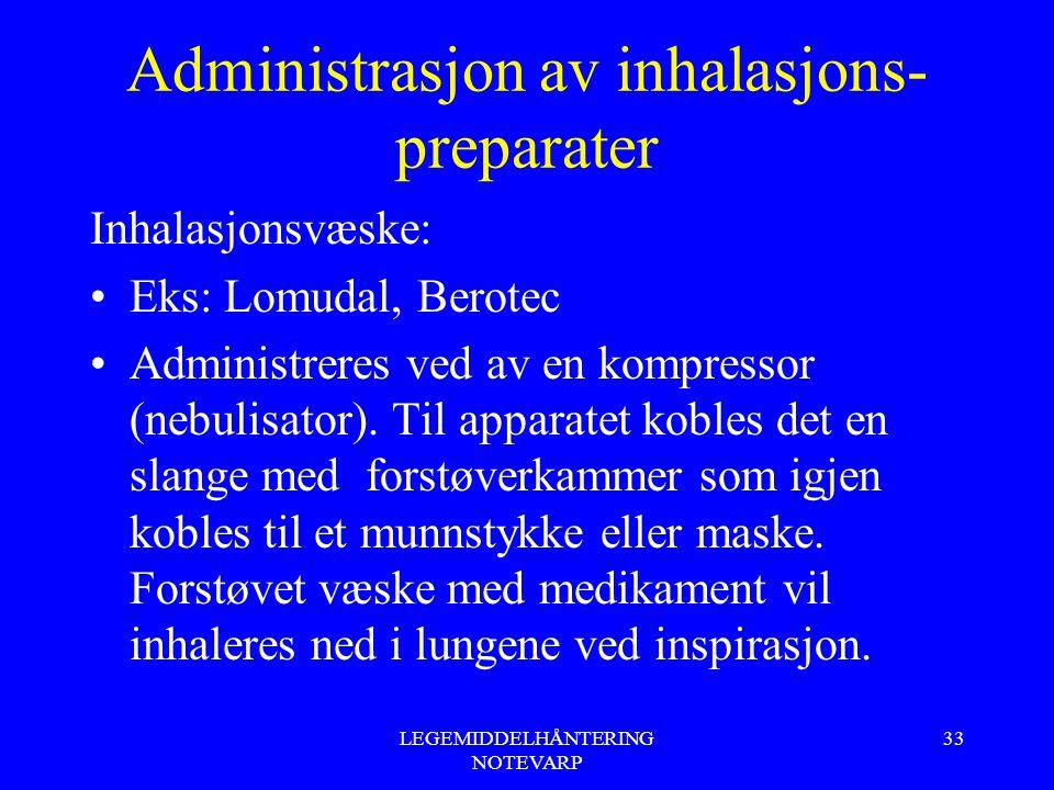 LEGEMIDDELHÅNTERING NOTEVARP 33 Administrasjon av inhalasjons- preparater Inhalasjonsvæske: Eks: Lomudal, Berotec Administreres ved av en kompressor (