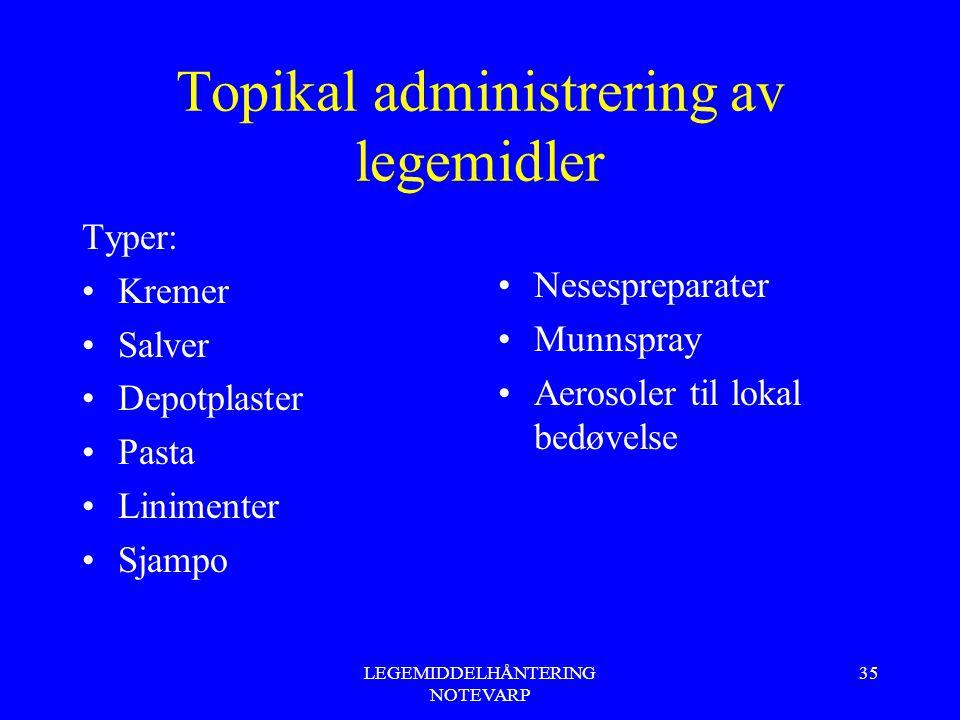 LEGEMIDDELHÅNTERING NOTEVARP 35 Topikal administrering av legemidler Typer: Kremer Salver Depotplaster Pasta Linimenter Sjampo Nesespreparater Munnspr