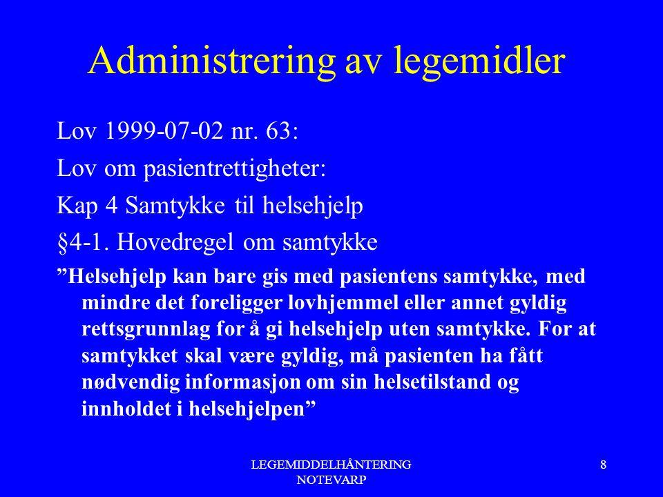 LEGEMIDDELHÅNTERING NOTEVARP 8 Administrering av legemidler Lov 1999-07-02 nr. 63: Lov om pasientrettigheter: Kap 4 Samtykke til helsehjelp §4-1. Hove