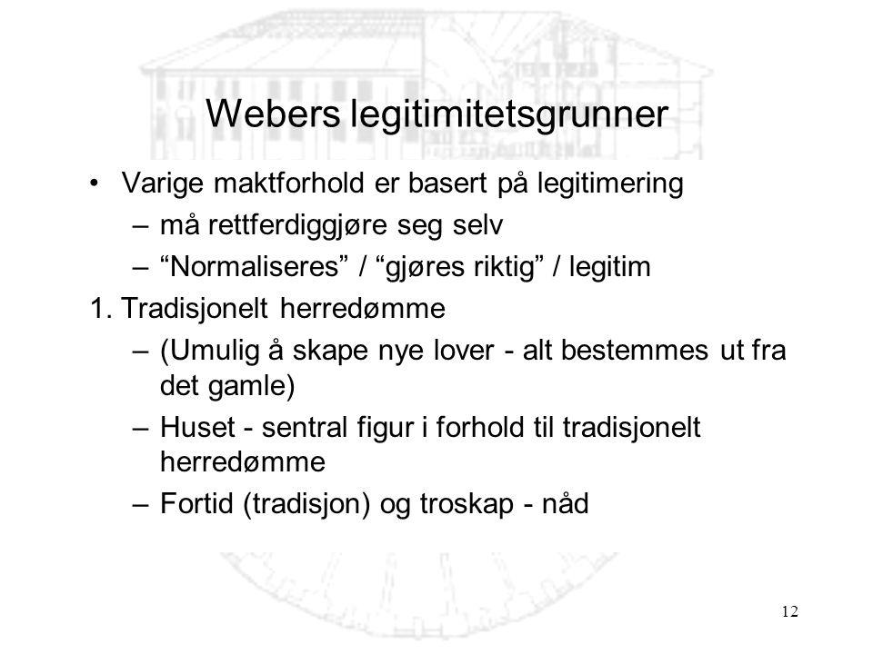 12 Webers legitimitetsgrunner Varige maktforhold er basert på legitimering –må rettferdiggjøre seg selv – Normaliseres / gjøres riktig / legitim 1.