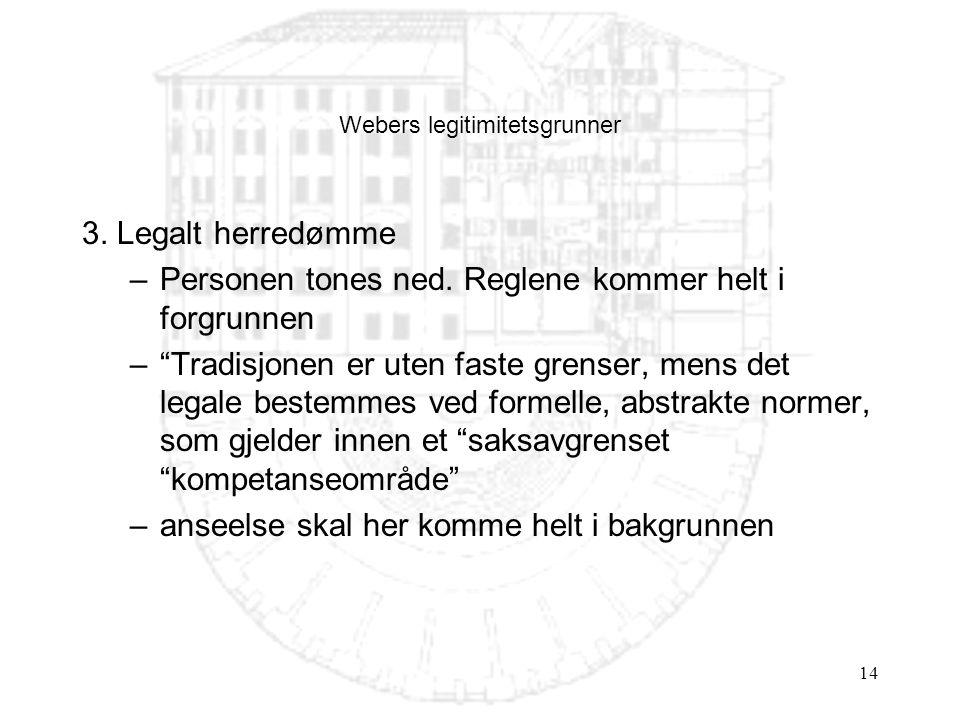 """14 Webers legitimitetsgrunner 3. Legalt herredømme –Personen tones ned. Reglene kommer helt i forgrunnen –""""Tradisjonen er uten faste grenser, mens det"""