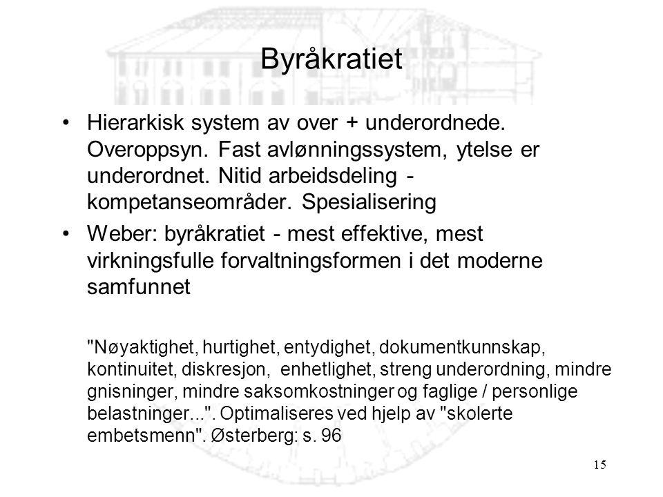 15 Byråkratiet Hierarkisk system av over + underordnede. Overoppsyn. Fast avlønningssystem, ytelse er underordnet. Nitid arbeidsdeling - kompetanseomr