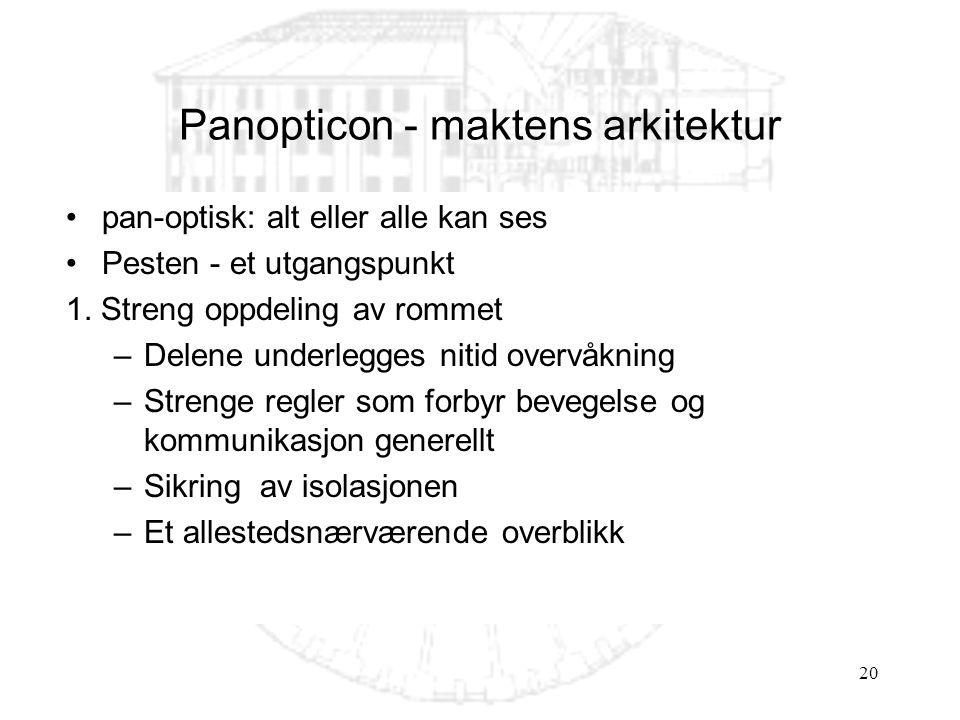20 Panopticon - maktens arkitektur pan-optisk: alt eller alle kan ses Pesten - et utgangspunkt 1. Streng oppdeling av rommet –Delene underlegges nitid