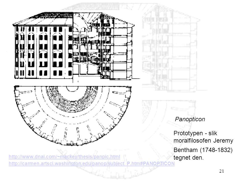 21 http://www.dnai.com/~mackey/thesis/panpic.html http://carmen.artsci.washington.edu/panop/subject_P.htm#PANOPTICON Panopticon Prototypen - slik moralfilosofen Jeremy Bentham (1748-1832) tegnet den.