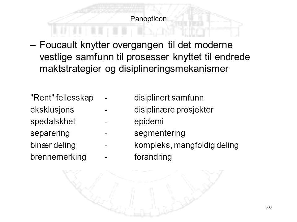 29 Panopticon –Foucault knytter overgangen til det moderne vestlige samfunn til prosesser knyttet til endrede maktstrategier og disiplineringsmekanismer Rent fellesskap - disiplinert samfunn eksklusjons - disiplinære prosjekter spedalskhet - epidemi separering - segmentering binær deling - kompleks, mangfoldig deling brennemerking - forandring