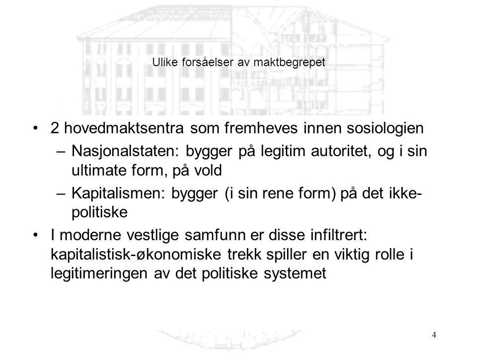 4 2 hovedmaktsentra som fremheves innen sosiologien –Nasjonalstaten: bygger på legitim autoritet, og i sin ultimate form, på vold –Kapitalismen: bygge