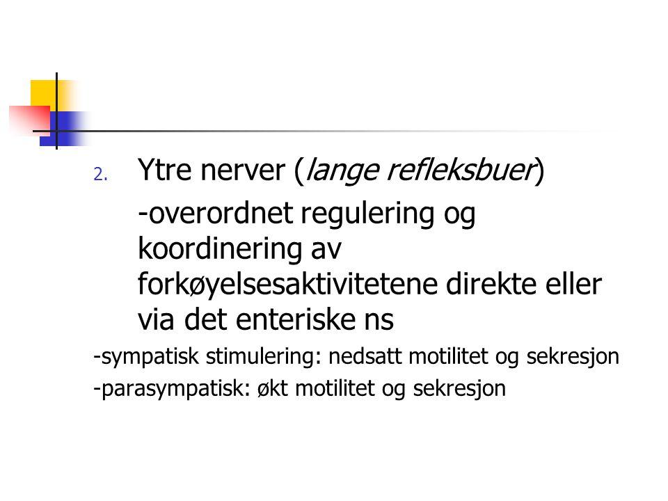 2. Ytre nerver (lange refleksbuer) -overordnet regulering og koordinering av forkøyelsesaktivitetene direkte eller via det enteriske ns -sympatisk sti