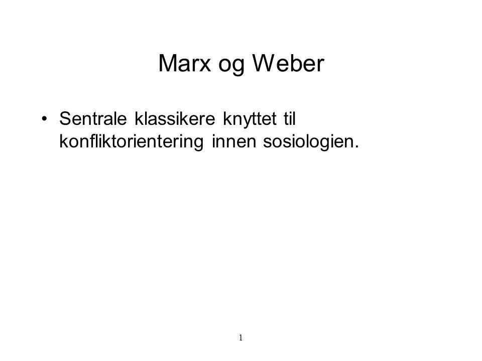 1 Marx og Weber Sentrale klassikere knyttet til konfliktorientering innen sosiologien.
