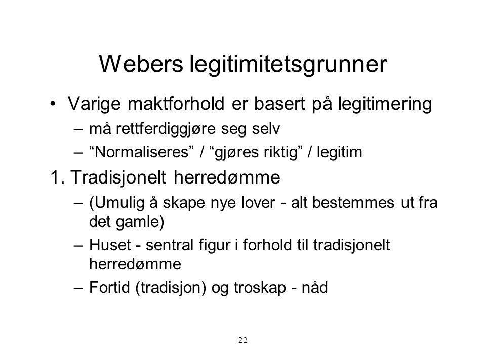 """22 Webers legitimitetsgrunner Varige maktforhold er basert på legitimering –må rettferdiggjøre seg selv –""""Normaliseres"""" / """"gjøres riktig"""" / legitim 1."""