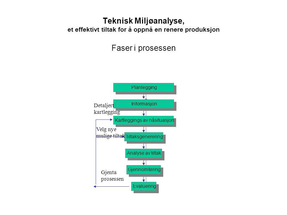 Faser i prosessen Evaluering Gjennomføring Analyse av tiltak Tiltaksgenerering Kartleggings av nåsituasjon Informasjon Planlegging Teknisk Miljøanalys