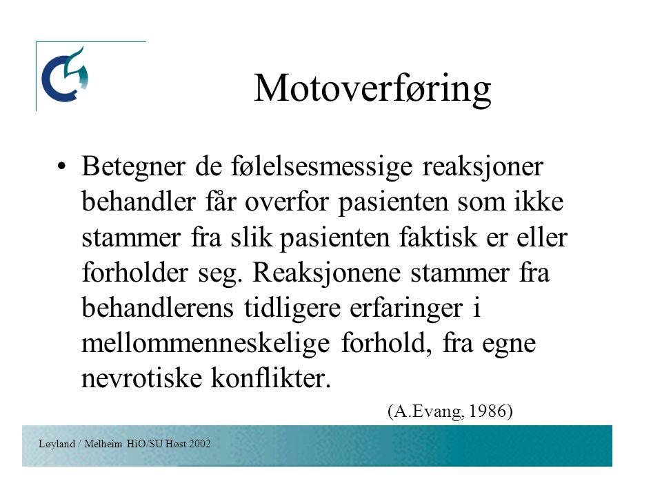 Løyland / Melheim HiO/SU Høst 2002 Motoverføring Betegner de følelsesmessige reaksjoner behandler får overfor pasienten som ikke stammer fra slik pasi