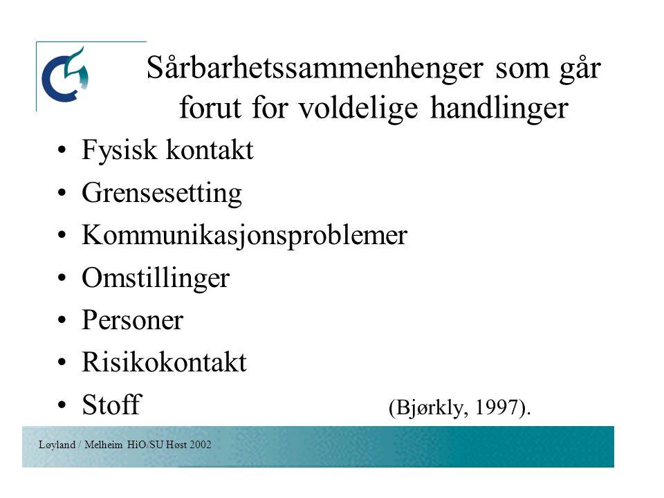 Løyland / Melheim HiO/SU Høst 2002 Sårbarhetssammenhenger som går forut for voldelige handlinger Fysisk kontakt Grensesetting Kommunikasjonsproblemer