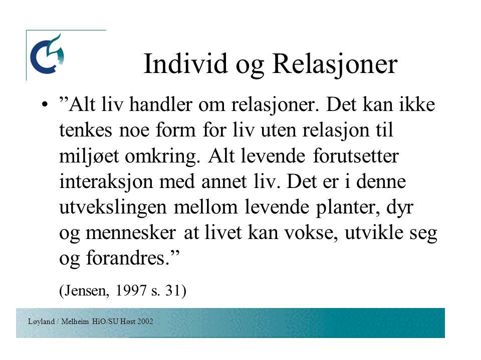"""Løyland / Melheim HiO/SU Høst 2002 Individ og Relasjoner """"Alt liv handler om relasjoner. Det kan ikke tenkes noe form for liv uten relasjon til miljøe"""