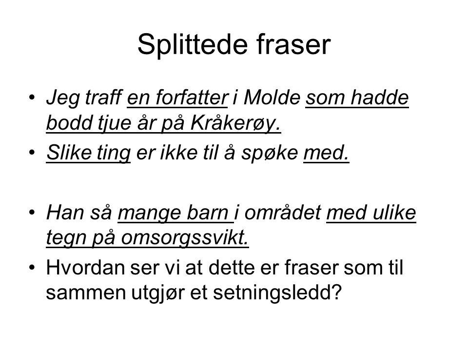 Splittede fraser Jeg traff en forfatter i Molde som hadde bodd tjue år på Kråkerøy. Slike ting er ikke til å spøke med. Han så mange barn i området me