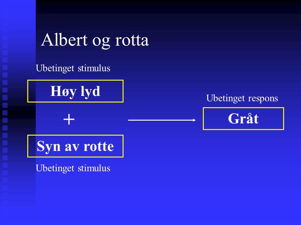 Albert og rotta Høy lyd Syn av rotte Gråt Ubetinget stimulus Glede Ubetinget stimulus Ubetinget respons