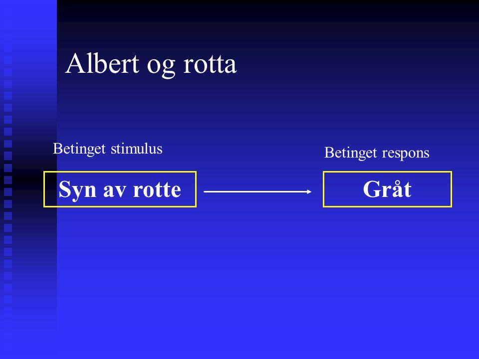 Albert og rotta Høy lyd Syn av rotte Gråt Ubetinget stimulus Ubetinget respons +